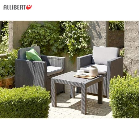 balkon sitzgruppe graphit sitzgarnitur sitzm bel polyrattan gartensitzgruppe ebay. Black Bedroom Furniture Sets. Home Design Ideas
