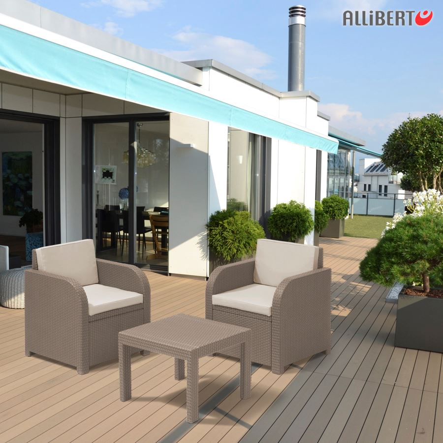 allibert balkon sitzgruppe mississippi cappuccino ebay. Black Bedroom Furniture Sets. Home Design Ideas