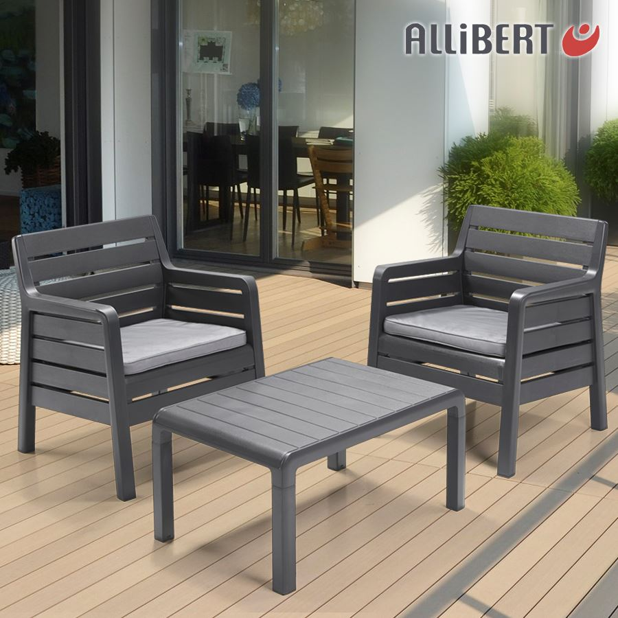 allibert balkon sitzgruppe windsor graphit ebay. Black Bedroom Furniture Sets. Home Design Ideas