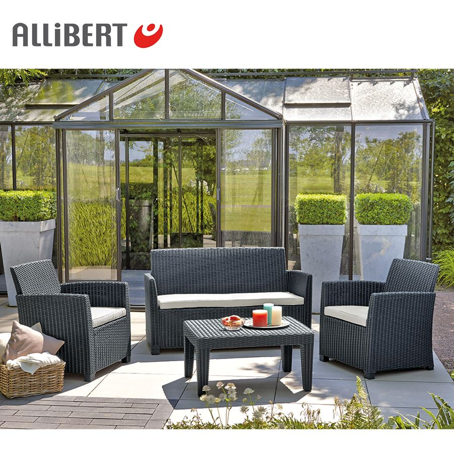 allibert lounge sitzgruppe merida graphit ebay. Black Bedroom Furniture Sets. Home Design Ideas